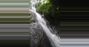 Costa Rica Rapel Sobre Cascada y Canopy
